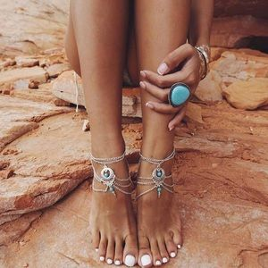 Jewelry - NWT Silver & Turquoise Anklet Chain Ankle Bracelet